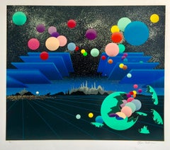 Pop Art Surreal Large Colorful Screenprint with Mod Balls of Color Serigraph