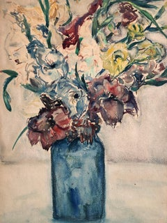 Vase of Flowers, Vibrant Floral, 1946 Bezalel Palestine Watercolor Painting