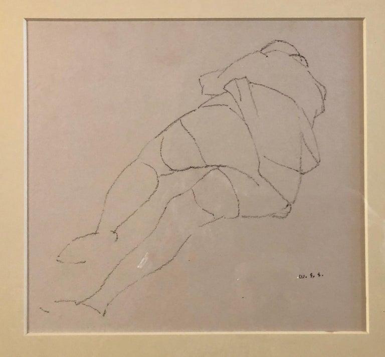 Chicago Modernist Line Drawing Reclining Nude WPA Artist. Exhibited Work - Beige Interior Art by William S. Schwartz