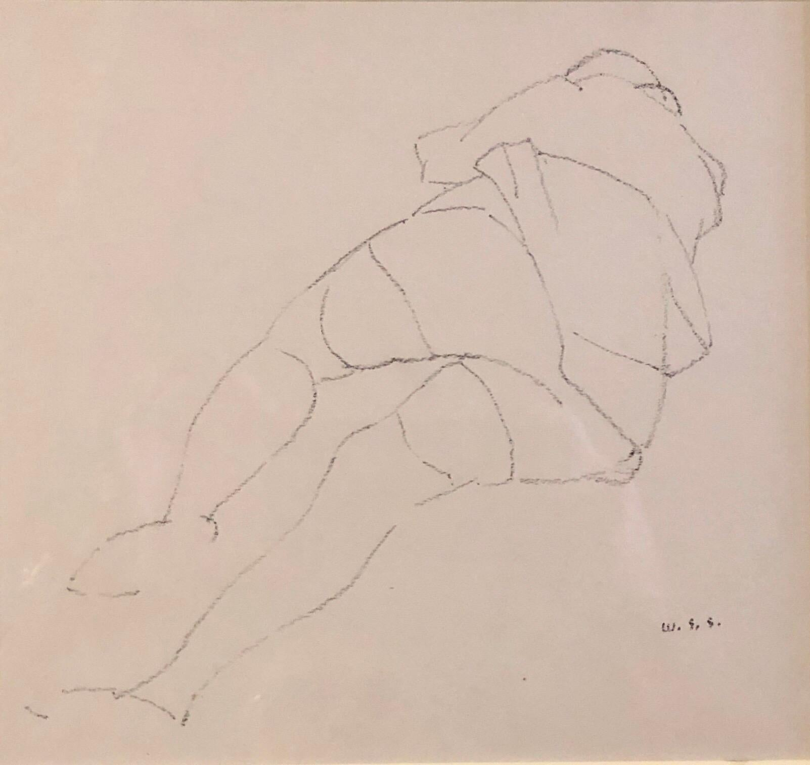 Chicago Modernist Line Drawing Reclining Nude WPA Artist. Exhibited Work