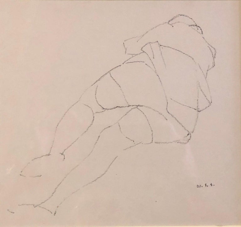 William S. Schwartz Interior Art - Chicago Modernist Line Drawing Reclining Nude WPA Artist. Exhibited Work