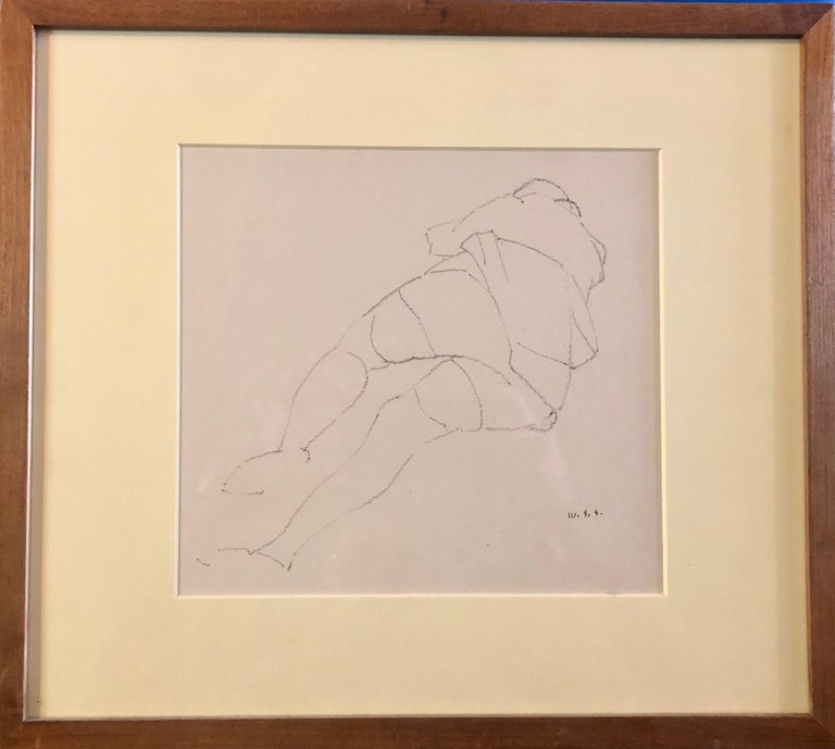 Reclining Nude.Early modernist line drawing, by American artist William S. Schwartz, c. 1940, gouache painting, signed with initials, framed. (size includes frame). Work is reminiscent of the drawings of Joseph Solman.    William S. Schwartz