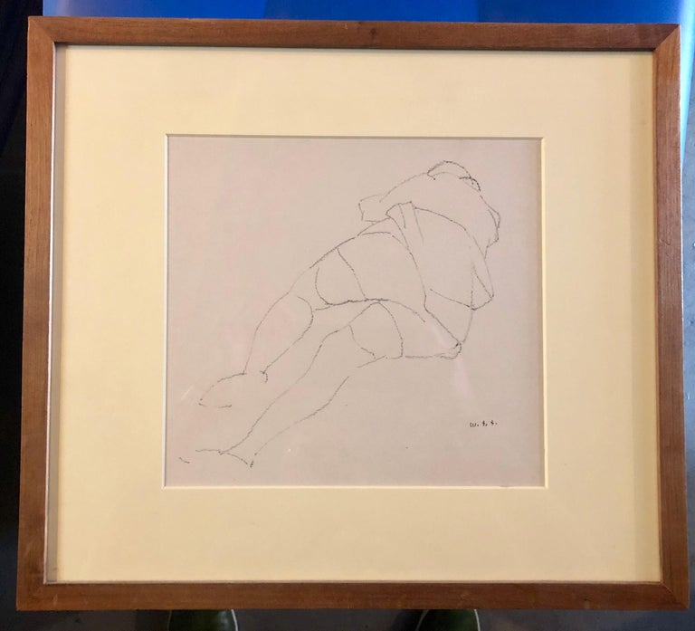 Chicago Modernist Line Drawing Reclining Nude WPA Artist. Exhibited Work For Sale 4