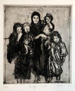 Jewish Yemenite Fine Art Etching Print Israeli Aliyah Magic Carpet Judaica