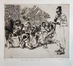 Jewish Yemenite Fine Art Etching Print Israeli Parting Prayer Judaica Refugees