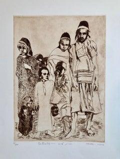 Jewish Yemenite Etching Art Print Israeli Traditional Clothing Judaica Aliyah