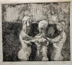 Latin American Artist Etching Social Realist Expressionist Nude Figures 3Graces