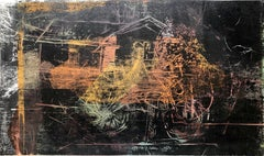 Latin American Figurative Abstract Expressionist Mixed Media Monoprint Painting