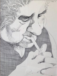 Golda Meir Israeli Woman Prime Minister Smoking Cigarette Ink Line Drawing 1972