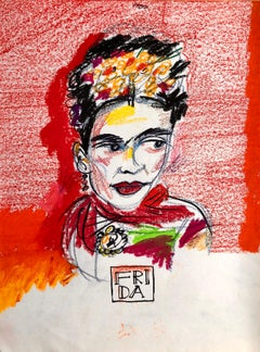 Original Drawing in Colorful Pastel Crayons Frida Kahlo, Mexican Feminist Artist