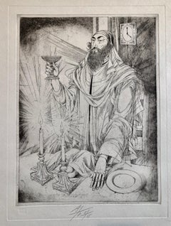 Hungarian Modernist Judaica Etching Print Kiddush, Jewish Rabbi at Shabbat Feast