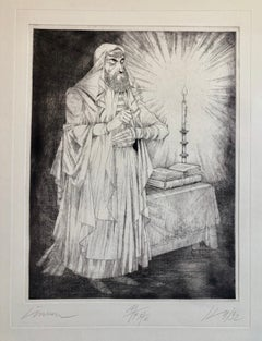 Hungarian Modernist Judaica Etching Print Teffilin, Jewish Rabbi in Prayer