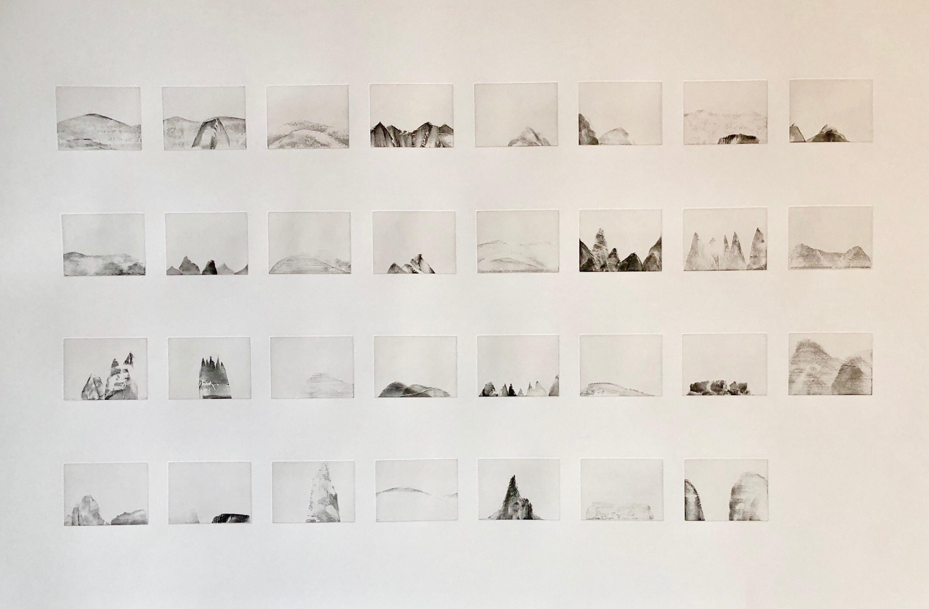 MOUNTAINS, 31 Etchings Printed 1 sheet, Large Art Etching French American Artist