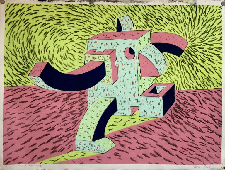 1980's Graffiti Artist. Mixed Media Painting Bold Colorful New Wave NYC Panama  For Sale 3
