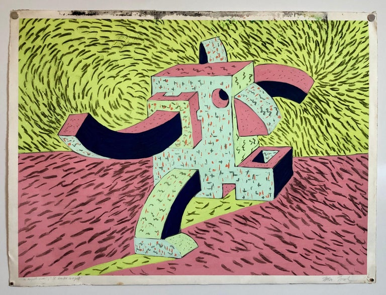 1980's Graffiti Artist. Mixed Media Painting Bold Colorful New Wave NYC Panama  For Sale 4