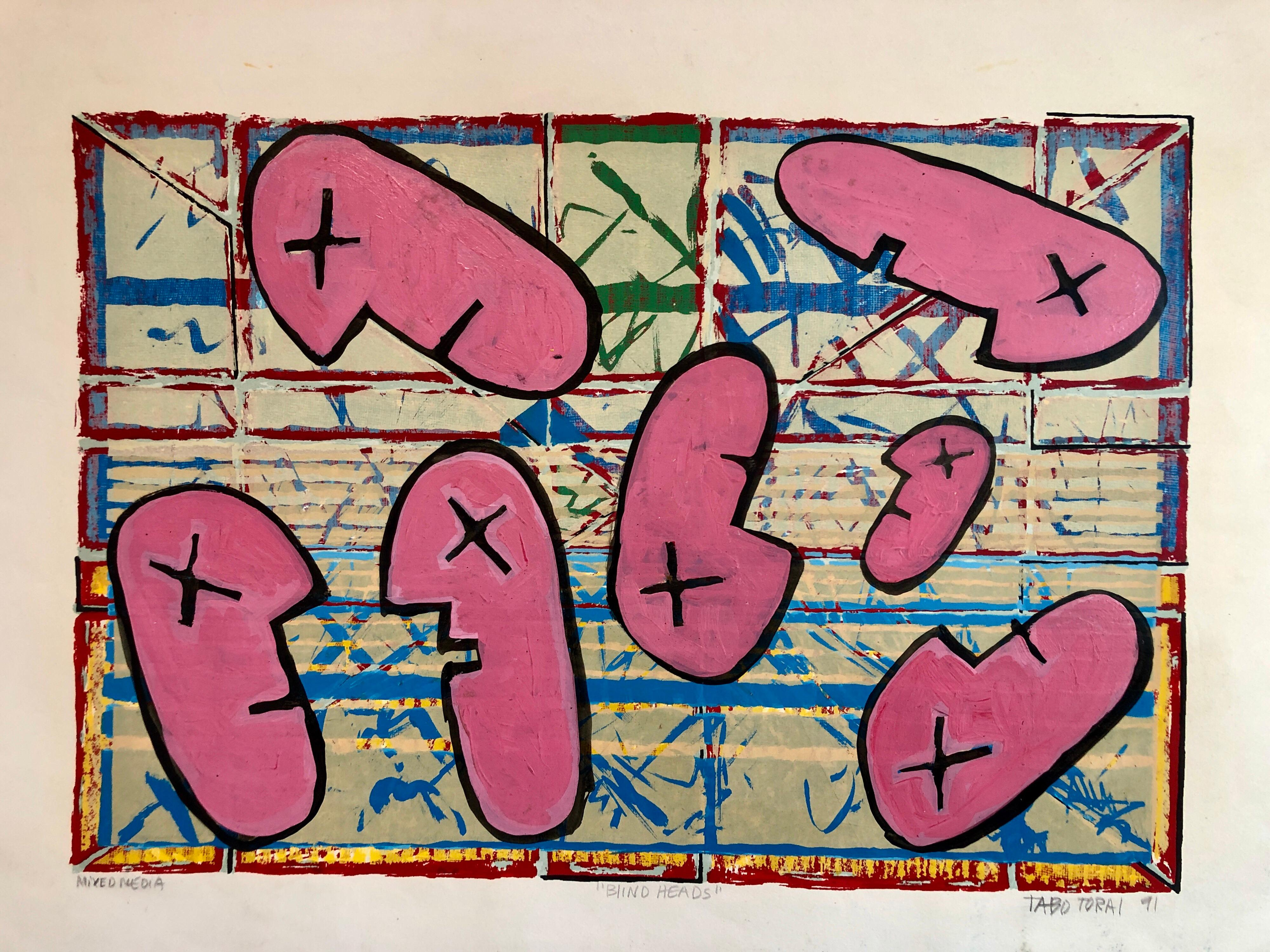 1990's Graffiti Artist. Mixed Media Painting Bold Colorful New Wave NYC Panama