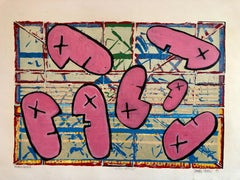 1990's Graffiti Artist. Mixed Media Painting Bold Colorful New Wave NYC Panama