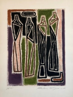 1959 Israeli Aharon Kahana Modernist Aquatint Etching Judaica Rabbi & Students
