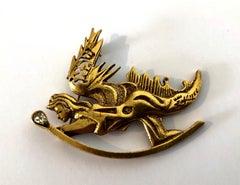 Wearable Art Sculpture Pin Winged Angel Brooch Salvador Dali