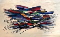 Israeli Modernist Hand Woven Aubusson Style Flat Weave Art Tapestry, Bezalel