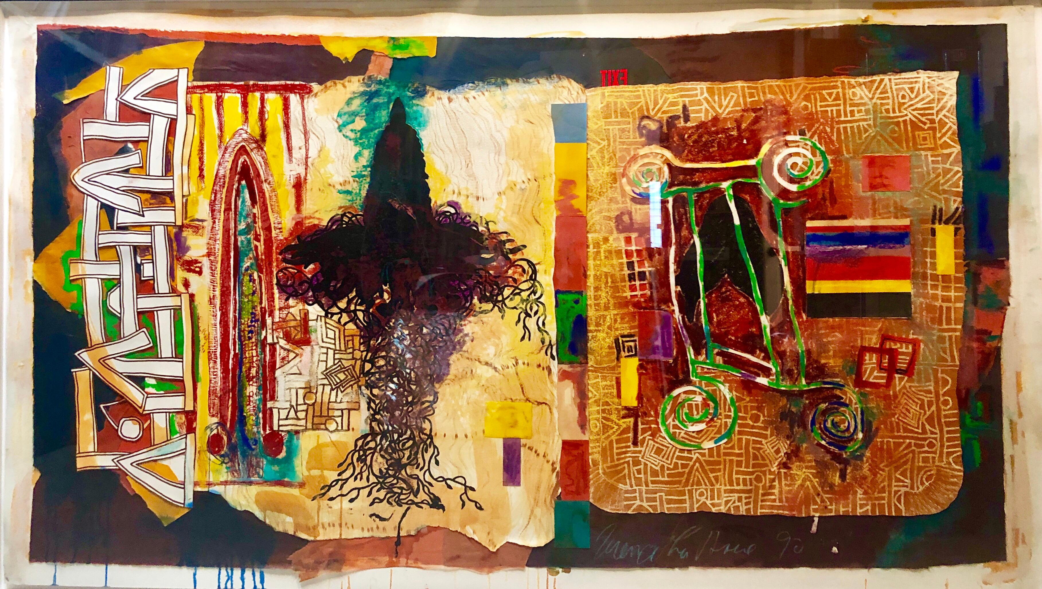 """Huge Abstract Modernist """"August Series"""" Mixed Media Monotype Colorful Painting"""
