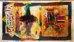 "Huge Abstract Modernist ""August Series"" Mixed Media Monotype Colorful Painting"