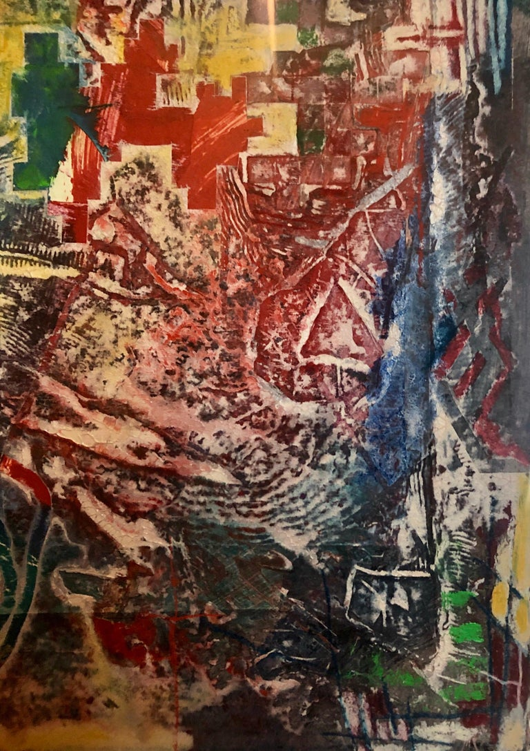 Large Abstract Modernist Monterey Series Mixed Media Monotype Colorful Painting  For Sale 5