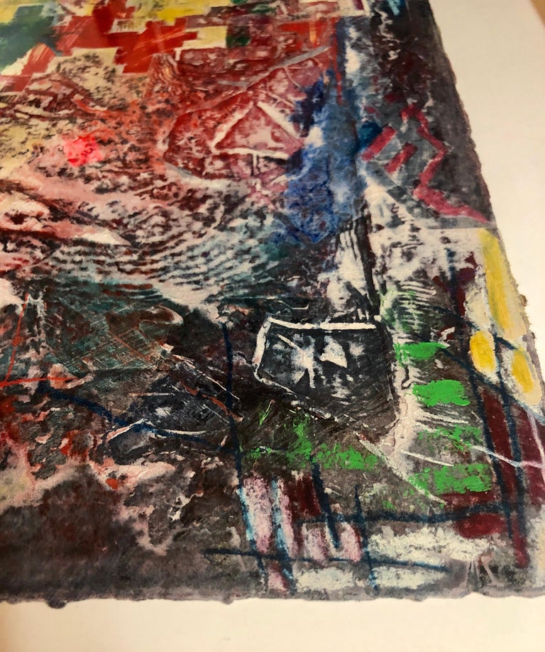 Large Abstract Modernist Monterey Series Mixed Media Monotype Colorful Painting  For Sale 3
