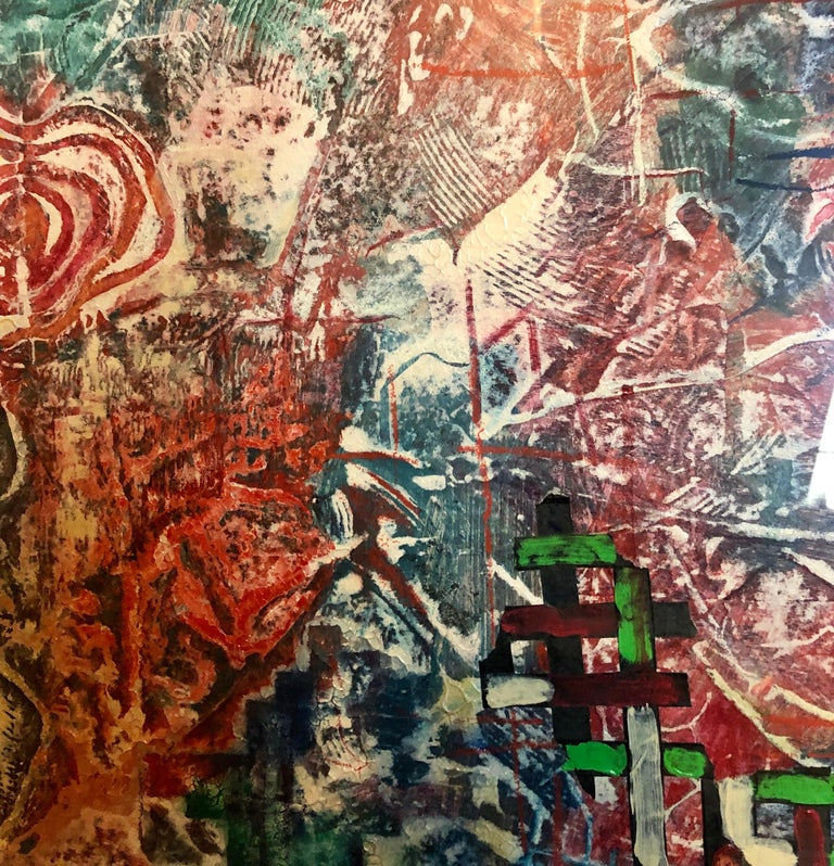 Large Abstract Modernist Monterey Series Mixed Media Monotype Colorful Painting  For Sale 7