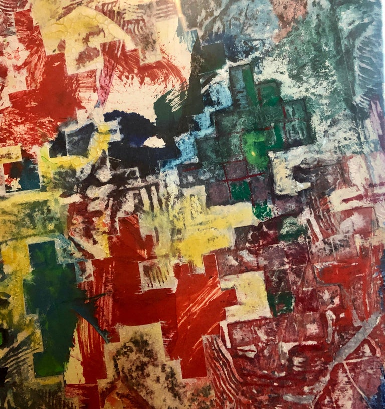 Large Abstract Modernist Monterey Series Mixed Media Monotype Colorful Painting  For Sale 8