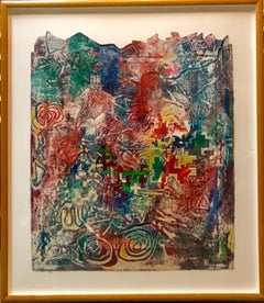 Large Abstract Modernist Monterey Series Mixed Media Monotype Colorful Painting