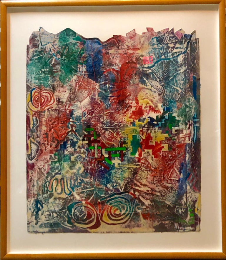 Terence La Noue Abstract Painting - Large Abstract Modernist Monterey Series Mixed Media Monotype Colorful Painting