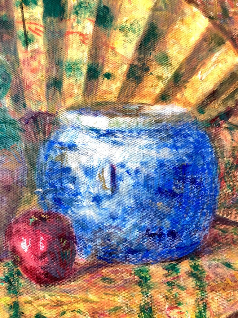 Japanese Fauvist Colorful Oil Painting Chinese Ceramic Jars with Fan and Apple For Sale 5