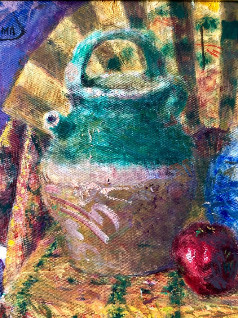 Japanese Fauvist Colorful Oil Painting Chinese Ceramic Jars with Fan and Apple For Sale 4