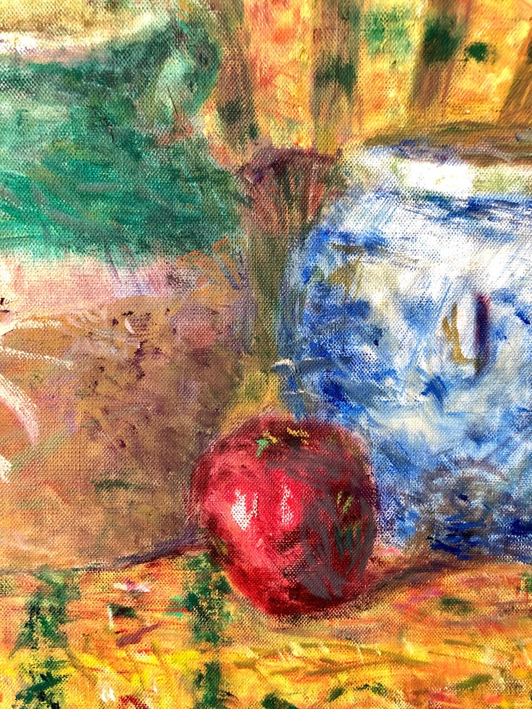Japanese Fauvist Colorful Oil Painting Chinese Ceramic Jars with Fan and Apple For Sale 6