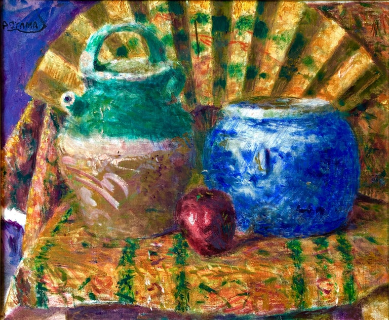 Japanese Fauvist Colorful Oil Painting Chinese Ceramic Jars with Fan and Apple - Beige Interior Painting by Yoshio Aoyama
