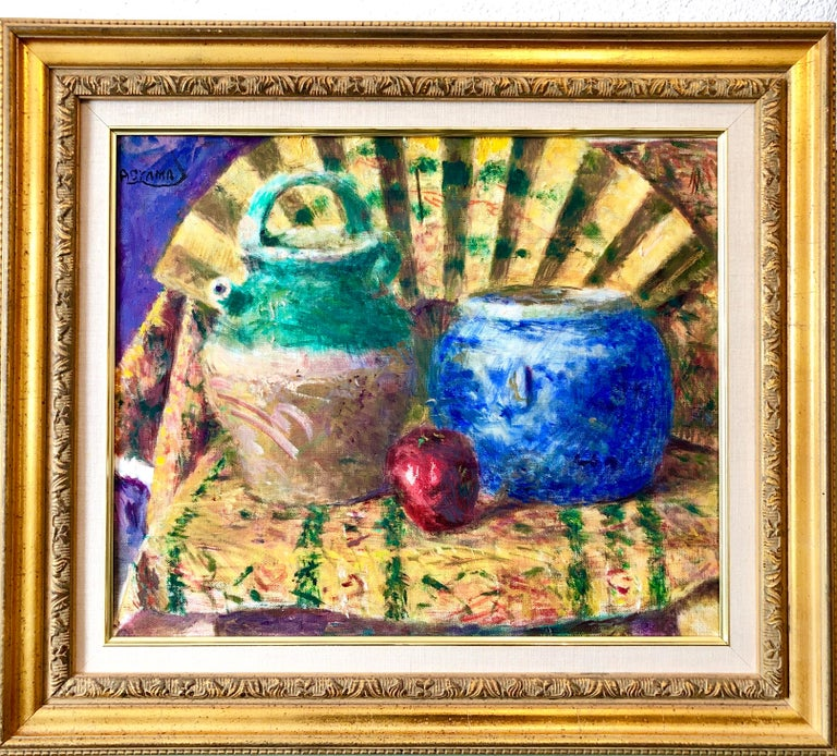 Japanese Fauvist Colorful Oil Painting Chinese Ceramic Jars with Fan and Apple For Sale 3