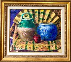 Japanese Fauvist Colorful Oil Painting Chinese Ceramic Jars with Fan and Apple