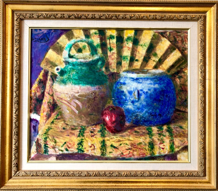 Yoshio Aoyama Interior Painting - Japanese Fauvist Colorful Oil Painting Chinese Ceramic Jars with Fan and Apple