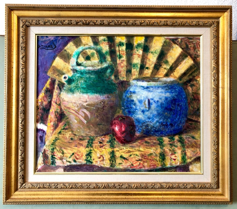 Japanese Fauvist Colorful Oil Painting Chinese Ceramic Jars with Fan and Apple For Sale 7
