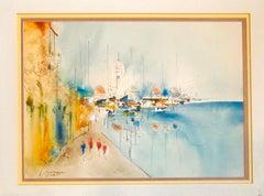 Edward Ben Avram Israeli Bezalel School Jerusalem Landscape Watercolor Painting