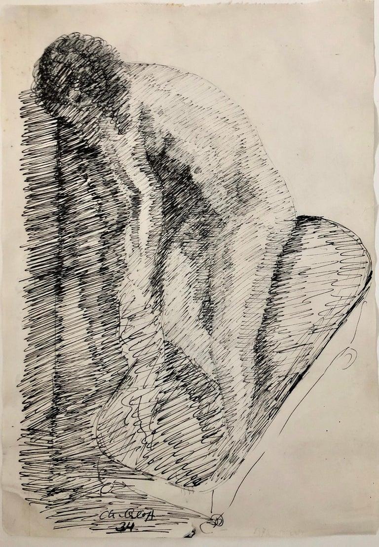 French Israeli Art Deco Nude Ink Drawing Woman Bathing School of Paris 1