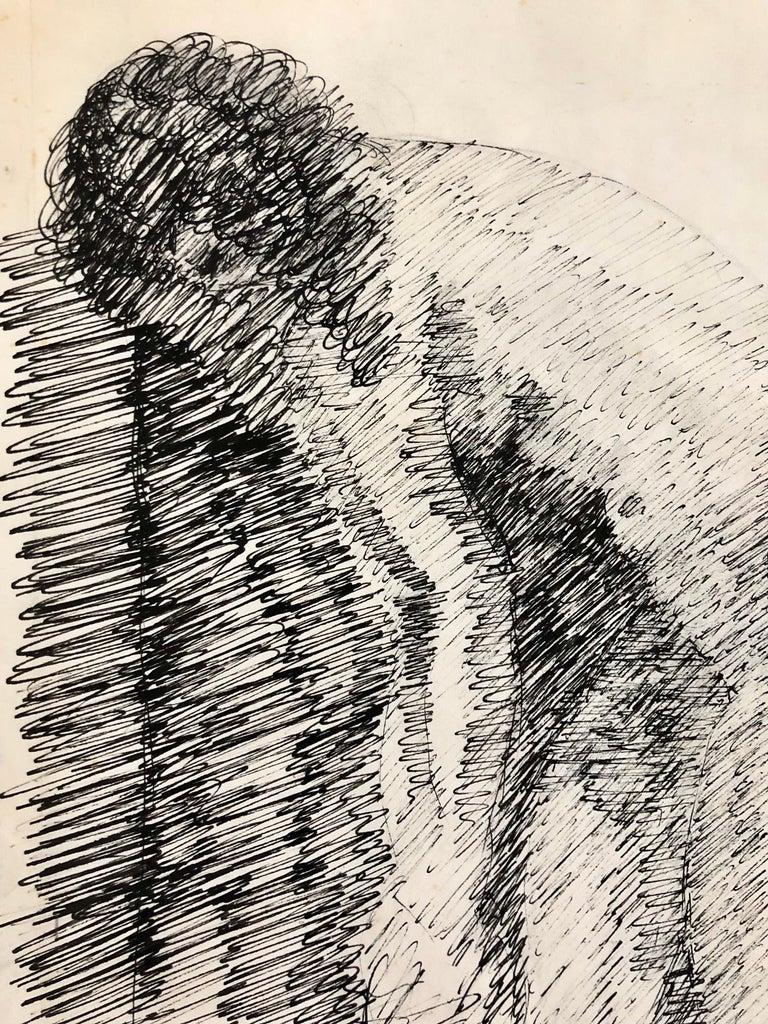 French Israeli Art Deco Nude Ink Drawing Woman Bathing School of Paris 2