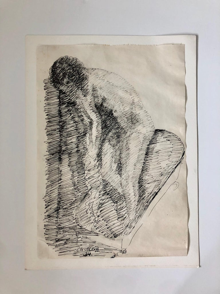 French Israeli Art Deco Nude Ink Drawing Woman Bathing School of Paris 5