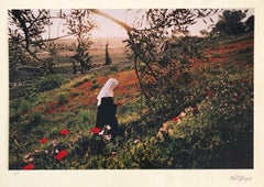 Vintage Color Photograph Nun, Mount Olives, Jerusalem Museum Ted Spiegel Photo