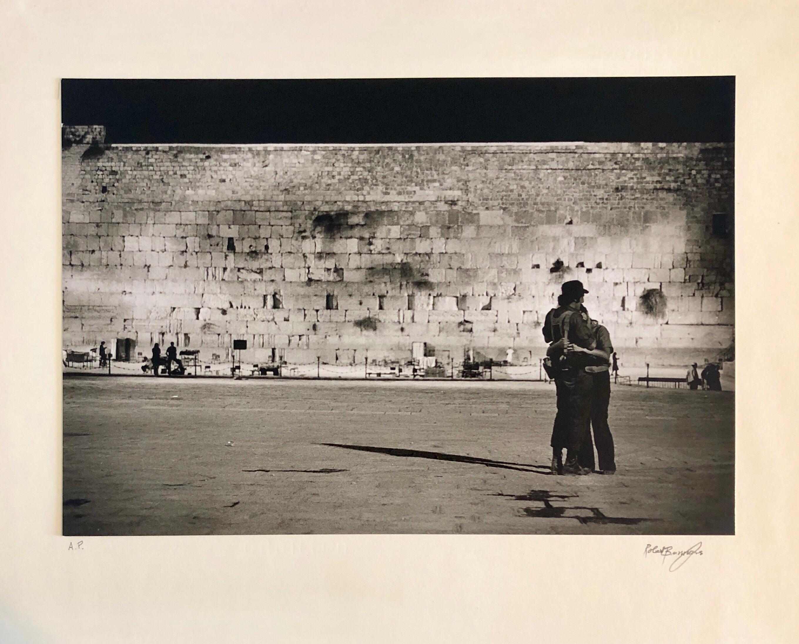 Vintage Silver Gelatin Photograph Jerusalem Western Wall Night Time Photo 1973