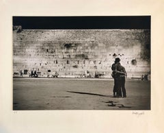 Vintage Silver Gelatin Photograph Jerusalem Western Wall Night Time Photo 1973