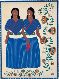 1945 Mexican Modernist Silkscreen Serigraph Print Regional Folk Art Dress Mexico