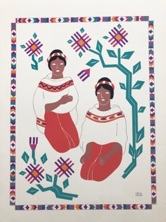 1945 Mexican Modernist Silkscreen Serigraph  Print Regional Dress Carlos Merida