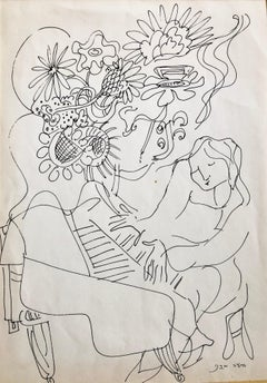 Vintage Israeli Bezalel School Drawing Woman Playing Piano, Flowers Kibbutz Life